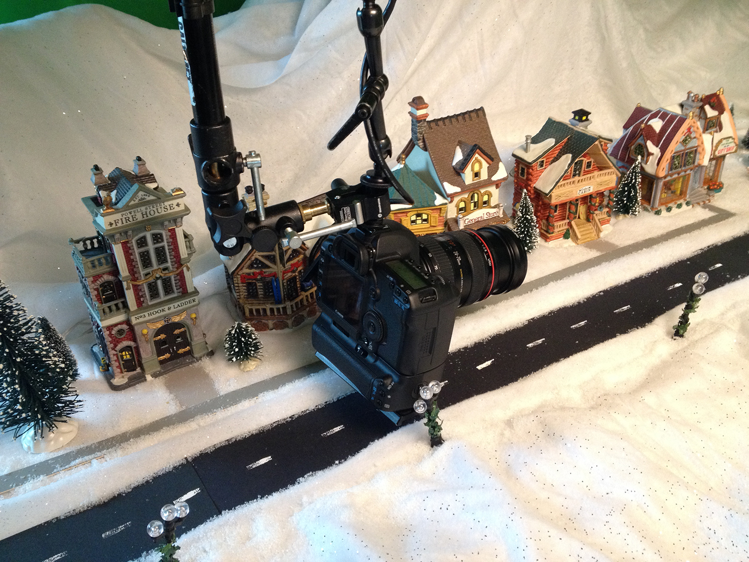 Close up of camera ready to move down the street set of Snow in Love